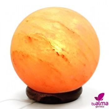 lampara de sal natural esfera iluminada