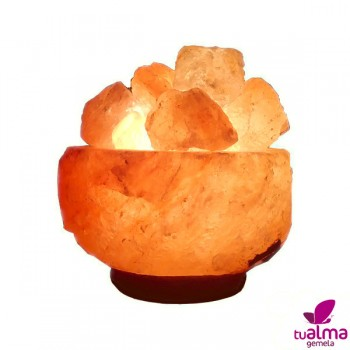 lampara de sal natural cuenco natural iluminada