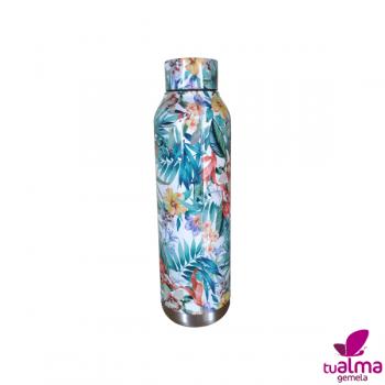 botella aislante termo floral