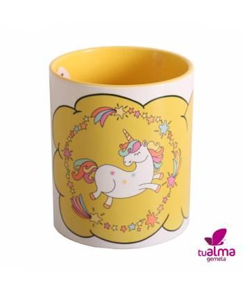 taza unicornio bailando amarillo frontal