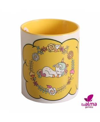 taza unicornio tumbado amarillo frontal