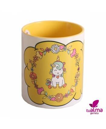 taza unicornio sentado  amarillo frontal