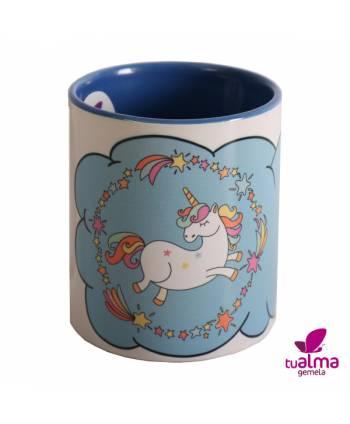 taza unicornio bailando azul  frontal