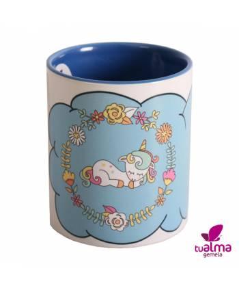 taza unicornio tumbado azul frontal