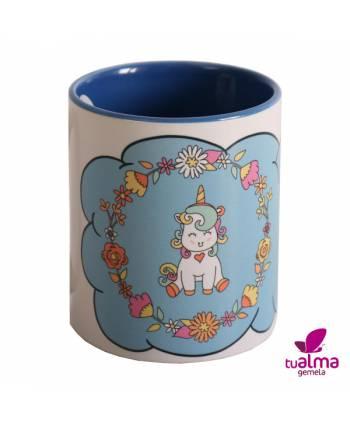 taza unicornio sentado azul frontal