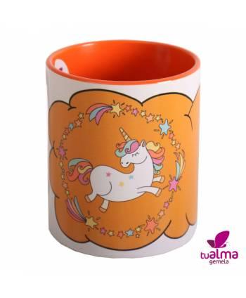 taza unicornio bailando naranja frontal