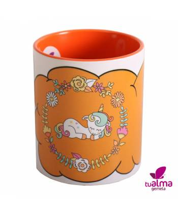taza unicornio tumbado naranja  frontal