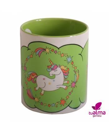 taza unicornio bailando verde frontal