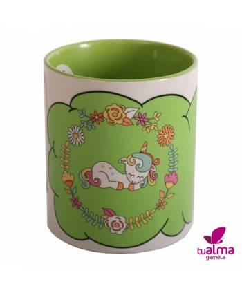 taza unicornio tumbado verde frontal