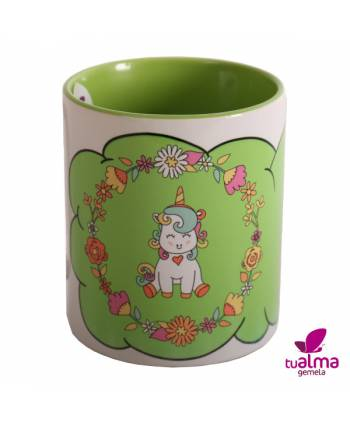 taza unicornio sentado verde frontal