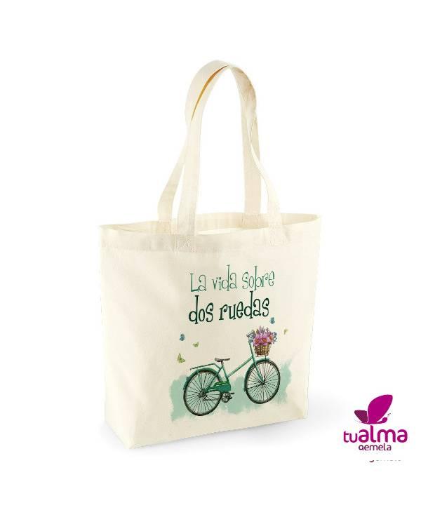 bolsa tela reutilizable vida sobre dos ruedas
